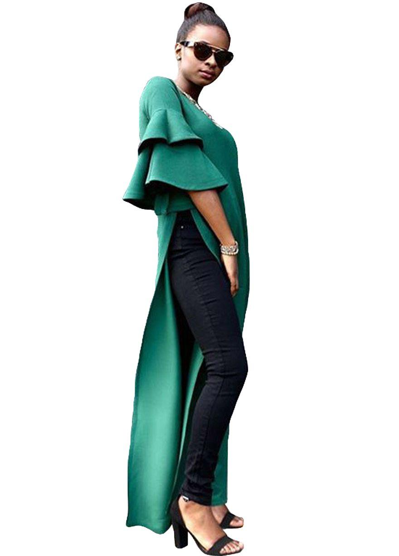 Green bell sleeve sides slit maxi dressmaxi dressdressessexy