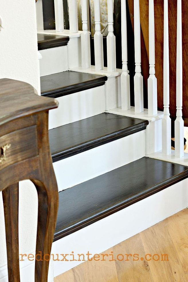 How To Paint A Staircase Black And White With All The Details! :: Hometalk