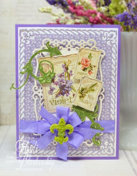 Embellished Dreams: The Stamp Simply Ribbon Store - Graphic 45 Secret Garden Violet Card