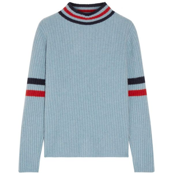 The Elder Statesman Odyssey striped ribbed cashmere turtleneck sweater  (£620) ❤ liked on