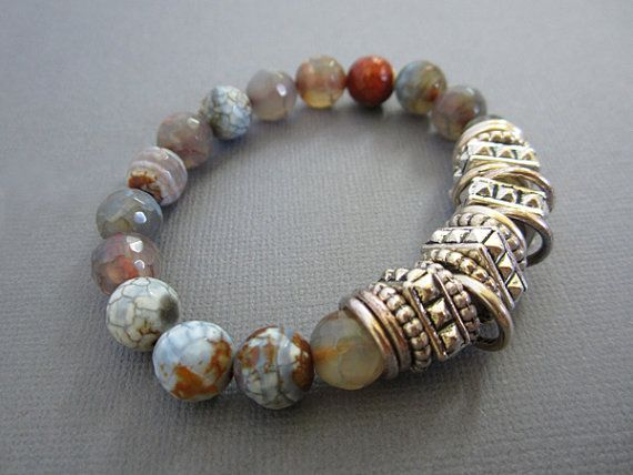 Bead Bracelet Silver finding with Agate Beads Bracelet by Lotus411