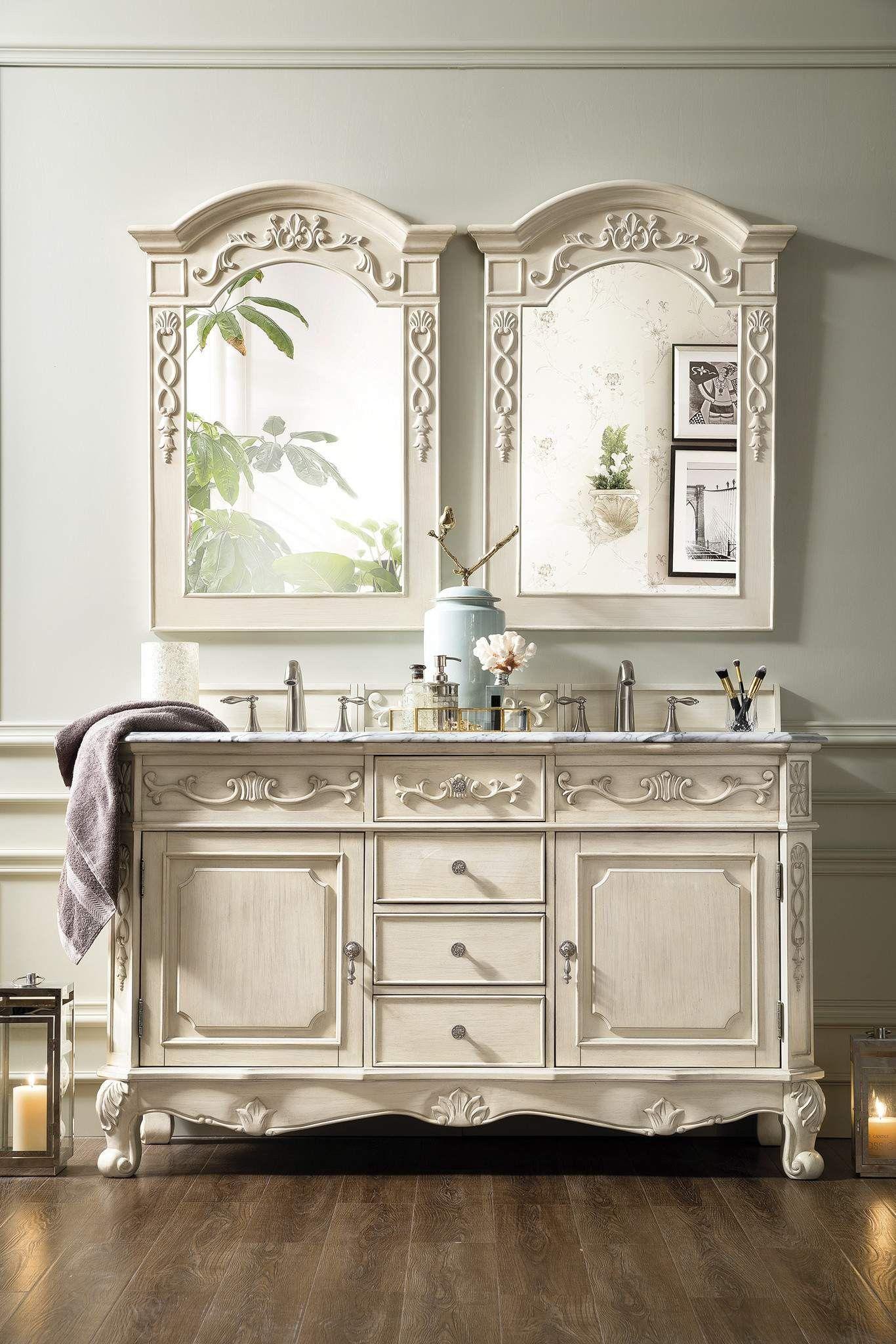 Costa Blanca 60 Double Vanity Vintage Vanilla Shabby Chic Bathroom Chic Bathrooms Double Vanity Bathroom [ 2048 x 1366 Pixel ]