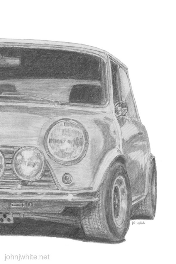 Another cool car drawing, this one showing only half the car ...