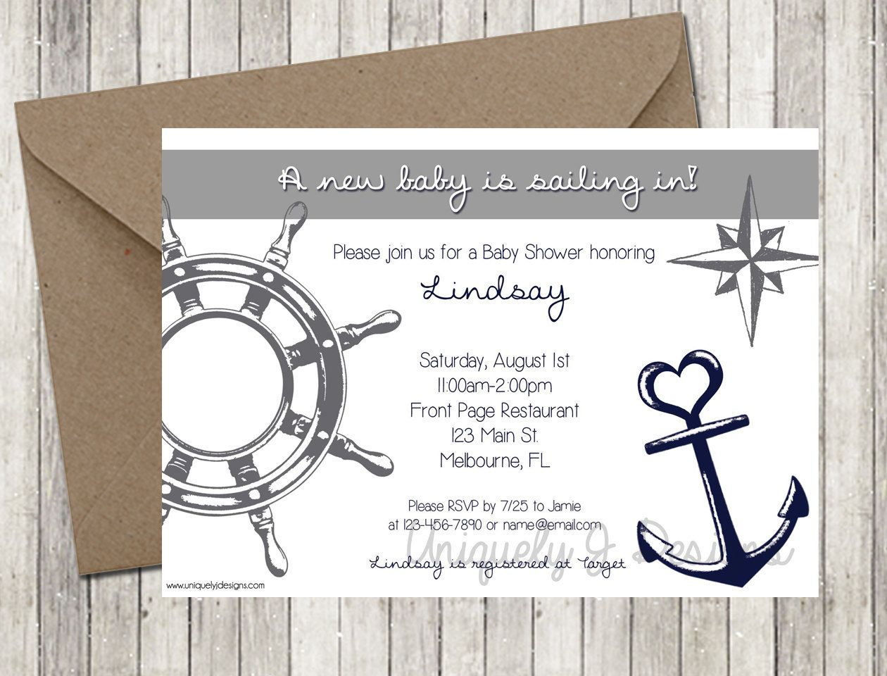 Nautical Baby Shower Invitation | Printable Baby Shower Invitation ...