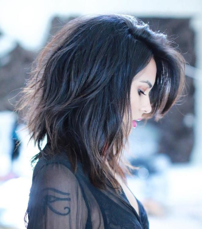 Layered Lob With Side Bangs