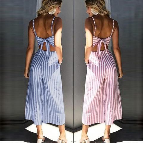 1071e297f81f Jumpsuit women long romper summer lace up striped playsuit back bow  bodysuit beach loose trousers coveralls female frock