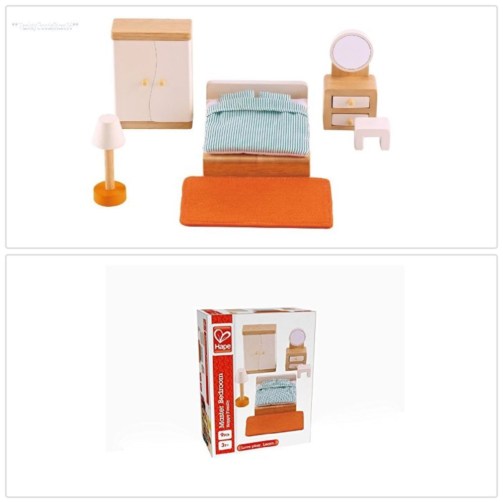 Dollhouse Furniture Playset Master Bedroom Toddler Kids Pretend Play Toy Wooden Hape Pretend Play Dollhouse Furniture Baby Doll House Furniture