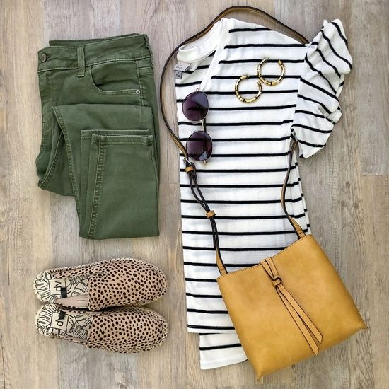 Leopard and stripes (and olive!) go together year round in my book! My bag is from last year, but I linked 2 newer options in the same color  My jeans, top, and shoes are all under $25  ShopStyle My is part of Fashion -