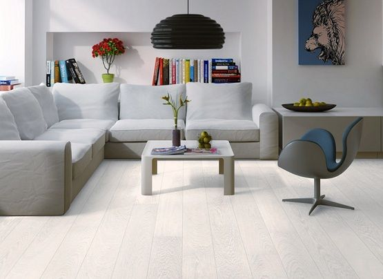 white oak laminate flooring for living room with gray sofa and