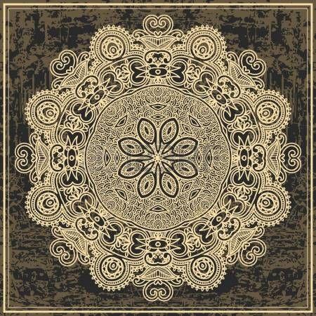 flor dise�o c�rculo sobre fondo grunge con adornos de encaje photo