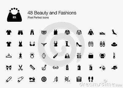 48 Beauty and Fashions Pixel Perfect Icons