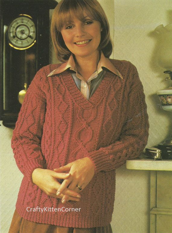 Vintage Ladies V Neck Aran Sweater Knitting Pattern | bob | Pinterest