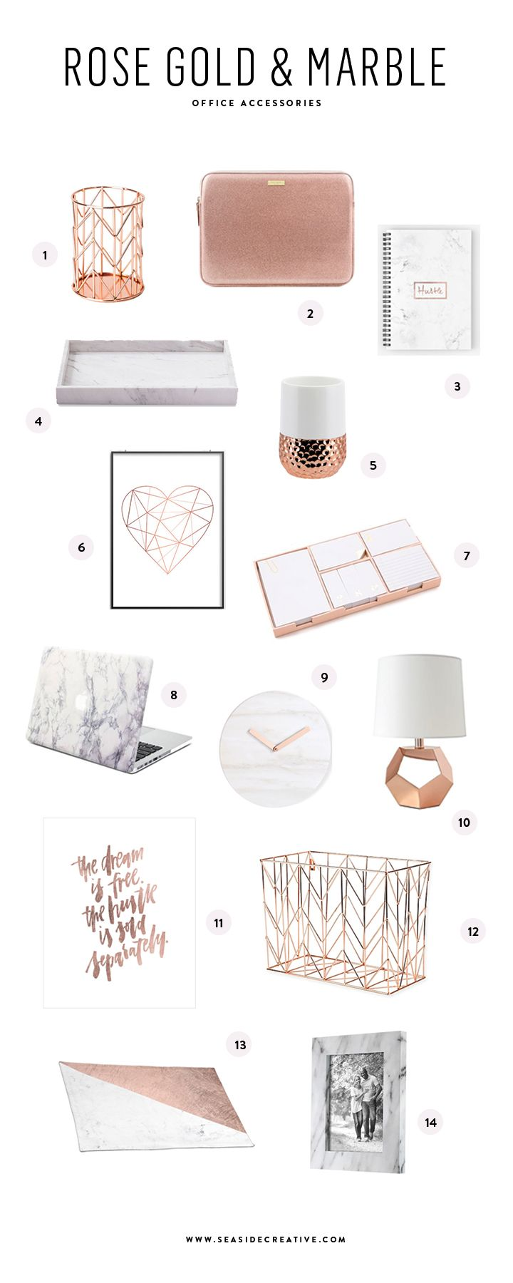 Beautiful Rose Gold Marble Office Accessories Rose Gold