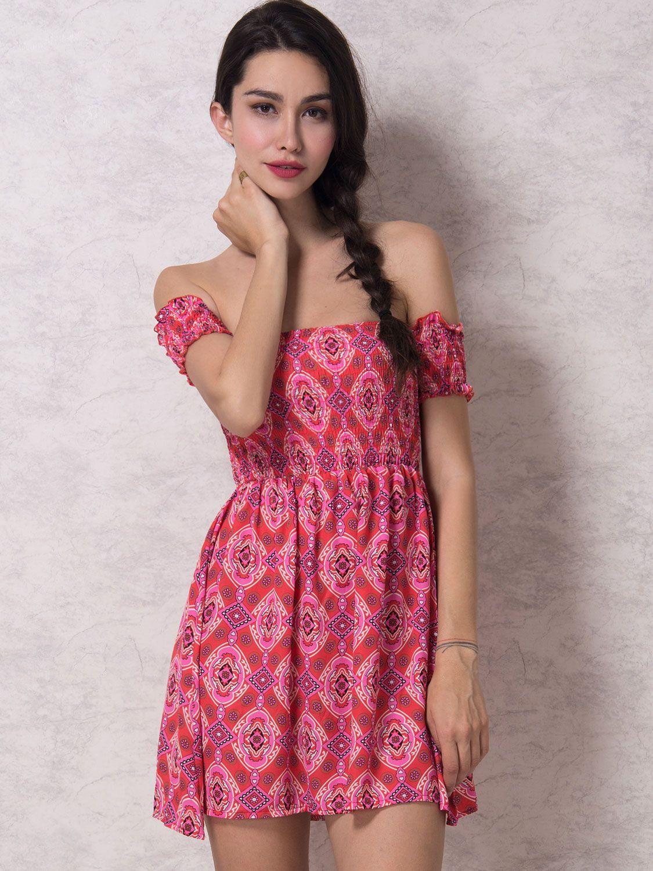 Red Off Shoulder Tribe Pattern Stretch Top Chiffon Dress | Vestiditos