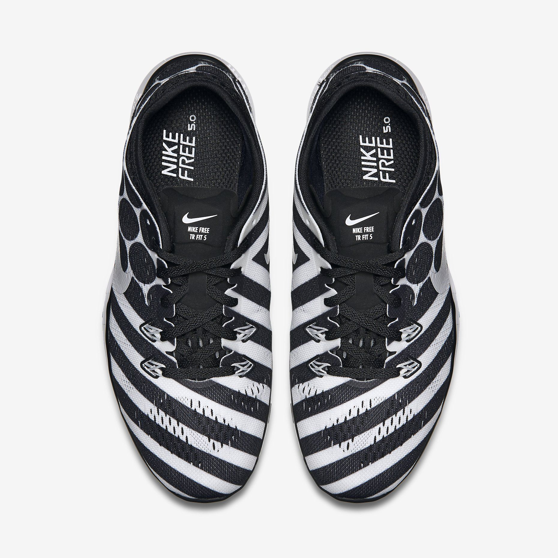 nike free 5.0 black and white stripe with polka dot