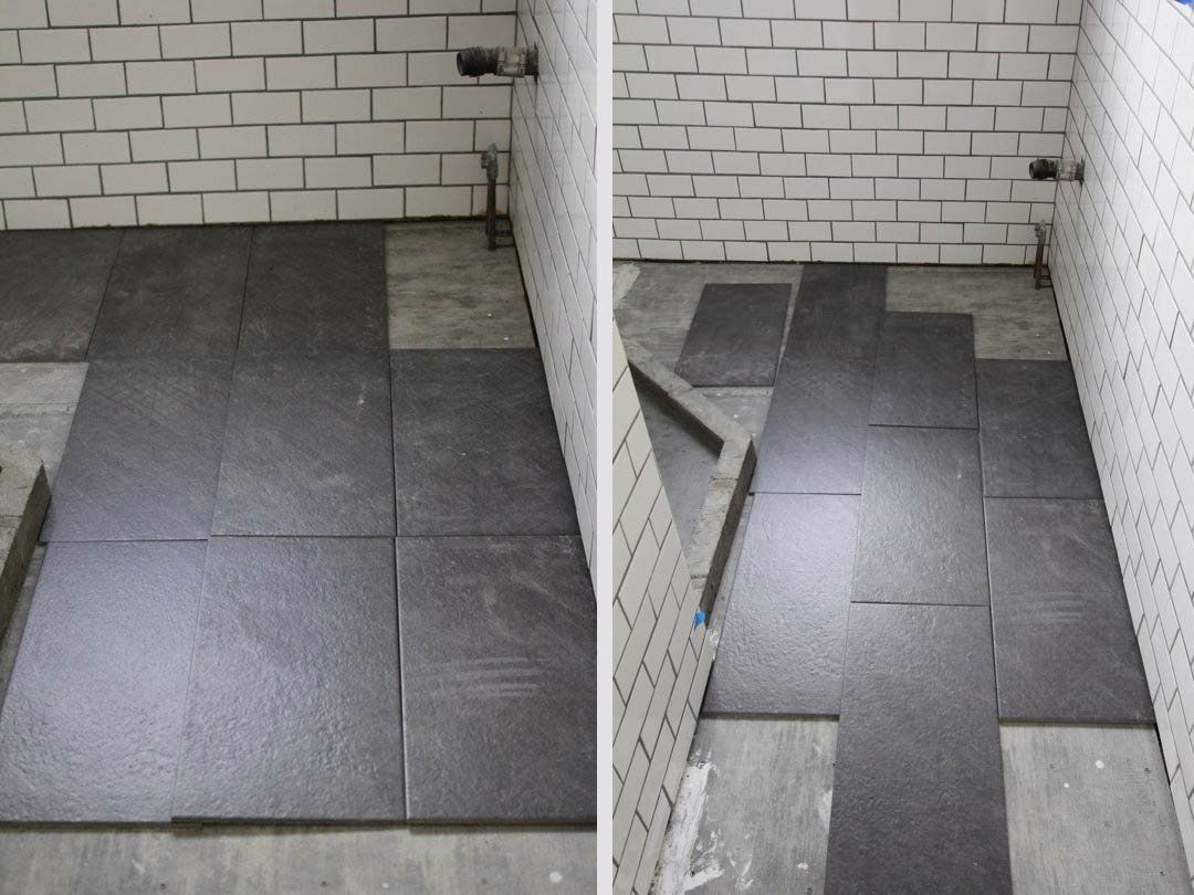 Whats the best tile layout for my bathroom straight or for my bathroom renovation i finally decided on large slate tiles for the bathroom floor doublecrazyfo Images