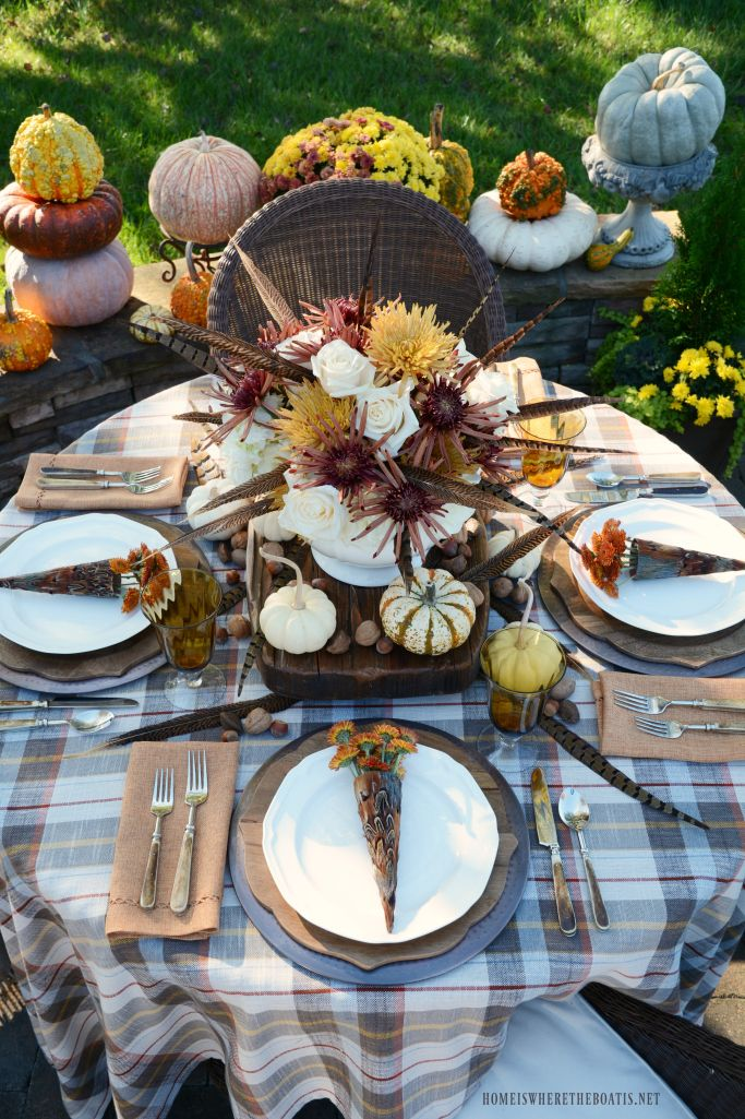 'In Fine Feather' Alfresco Fall Table + Arrangement