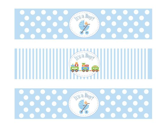 Printable Baby Shower Boy Theme Water Bottle by DesignsByDVB ...