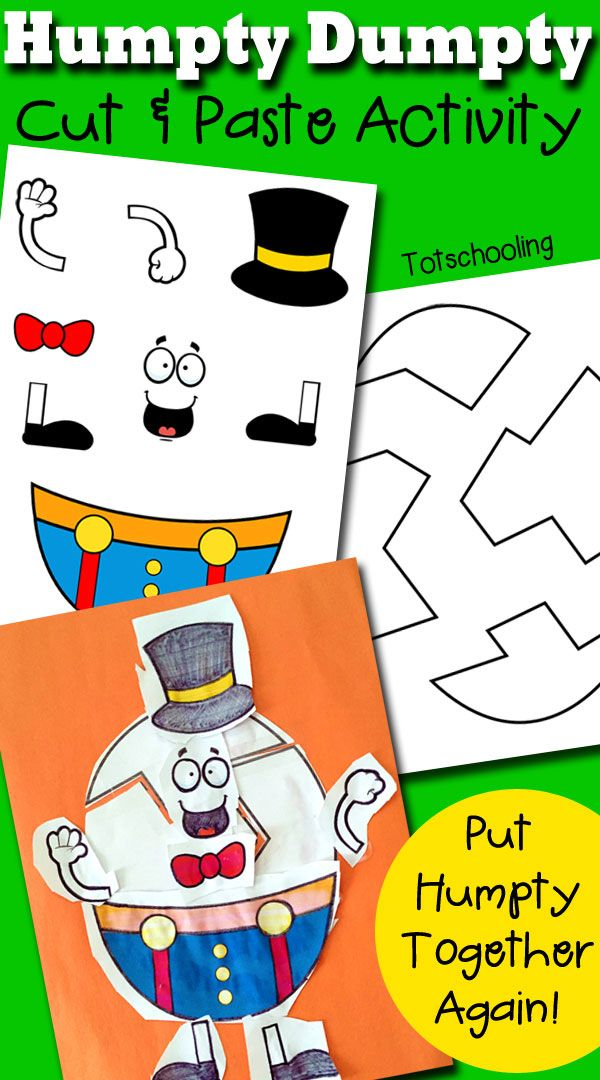 image about Humpty Dumpty Printable called Humpty Dumpty Printable Slash Paste Recreation Coaching