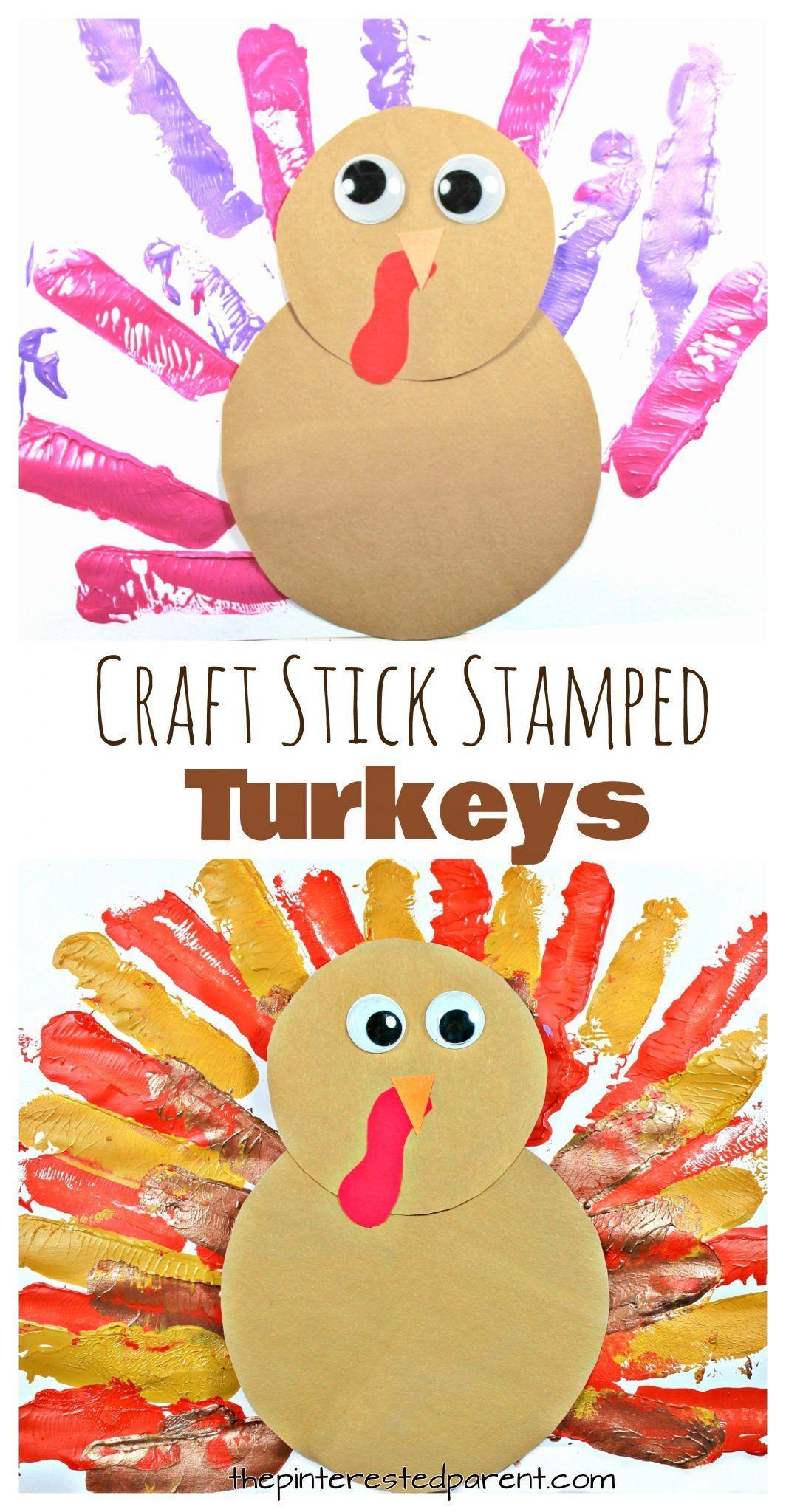 Craft Stick Stamped Thanksgiving Turkey