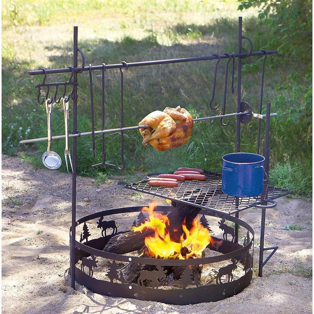 Campfire Ring Black Heavy Gauge Steel Large 36 Diameter Moose Pine Trees Guidegear Fogueira Cozinhas Ao Ar Livre Fornos