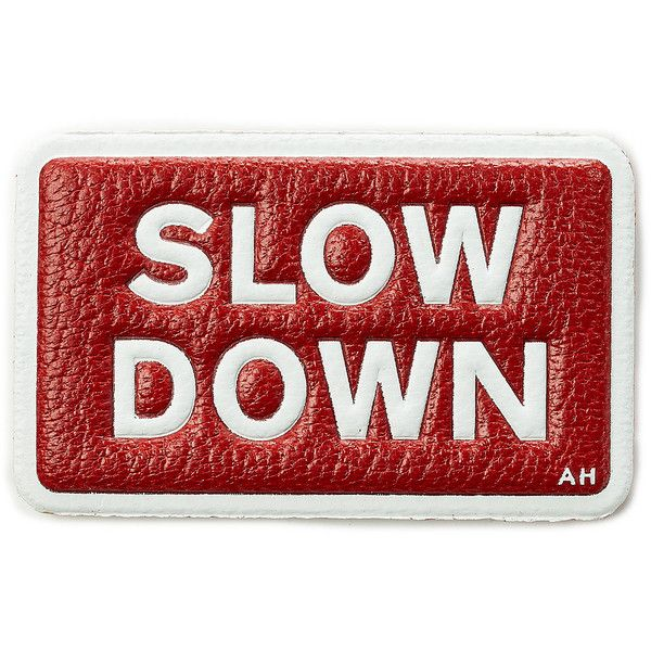 Anya Hindmarch Slow Down Leather Sticker (223.285 COP) ❤ liked on Polyvore featuring home, home decor, multicolor, leather notebook, leather sticker, anya hindmarch, leather office accessories and leather note book