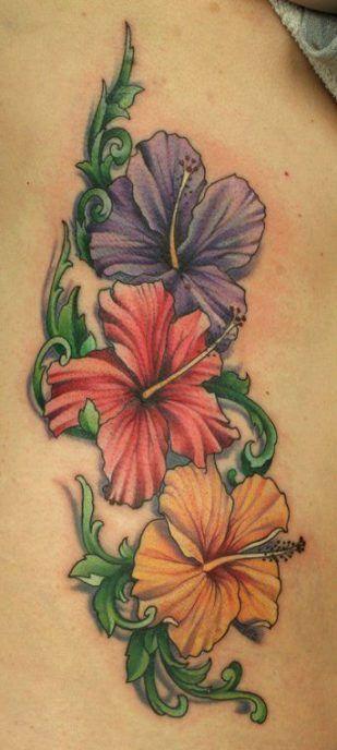 Flowers tattoo leg hibiscus 57 Trendy Ideas #tattoo # ...