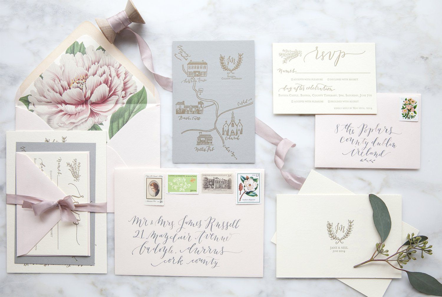 This invitation syle but with our wreathinitial logo at the top