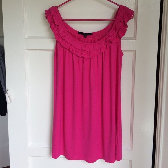 NWOT Anthropologie (Zoa) Dress Never worn, super flirty pink dress. Perfect for summer days or throw on as a cover up on the beach. Cute ruffle wide neck that can be stretched off the shoulder. Bright & beautiful Fuschia color. 94% Modal 6% Spandex = SUPER SOFT! Anthropologie Dresses