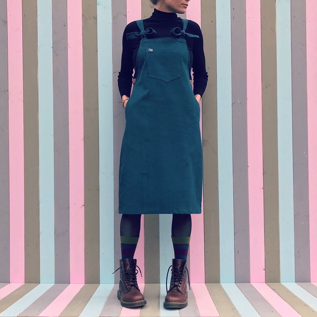 36050911b89  Freyja  Dungaree Dress in Petrol Blue by Lucy   Yak.