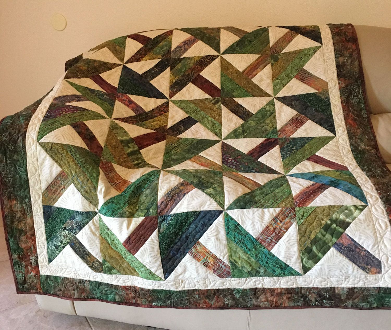 Quilted Sofa Throw or Lap Quilt, Green and Brown Pine Trees Batik ... : quilted lap throws - Adamdwight.com