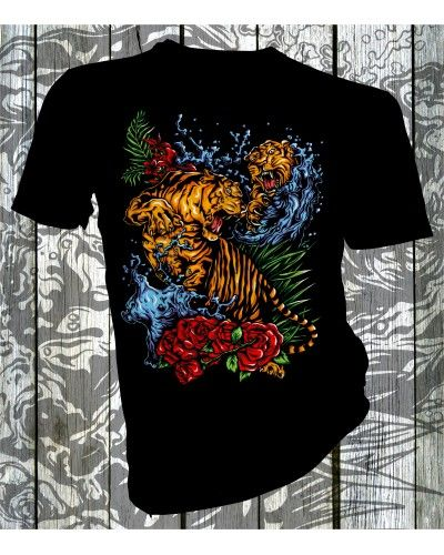 Product Name Tiger Splash  T-shirt Description Seamless twin needle 3/4