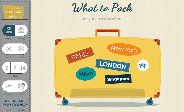 This interactive list will help you what to pack
