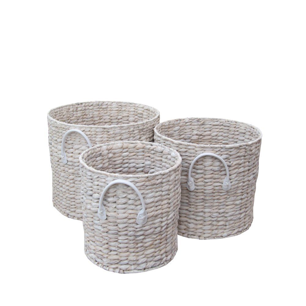 buy white wash water hyacinth round log baskets the basket