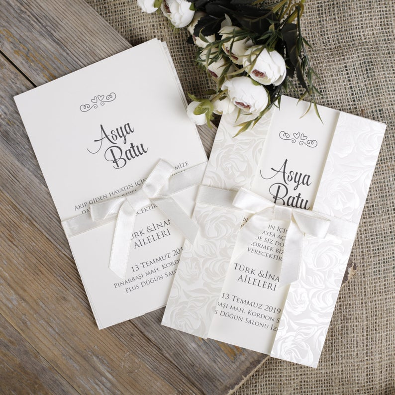 White Embossing Folded Paper Wedding Invitation Simple Etsy Wedding Invitations Etsy Wedding Invitations Cheap Wedding Invitations