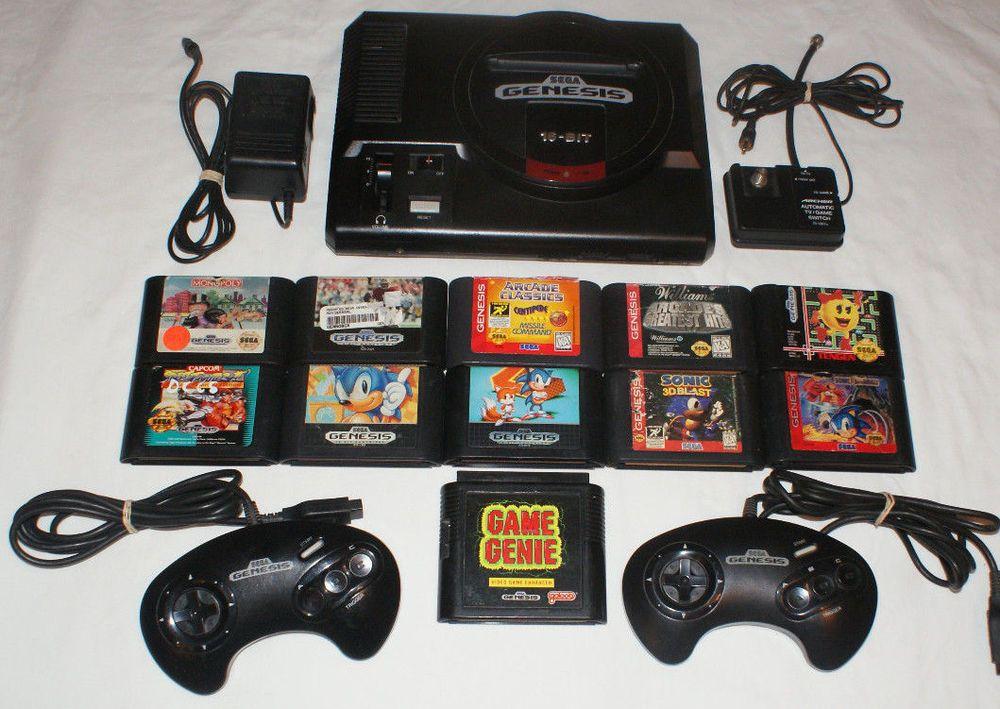 Sega Genesis Model 1 Console Lot 10 Games 2 Controllers Game Genie