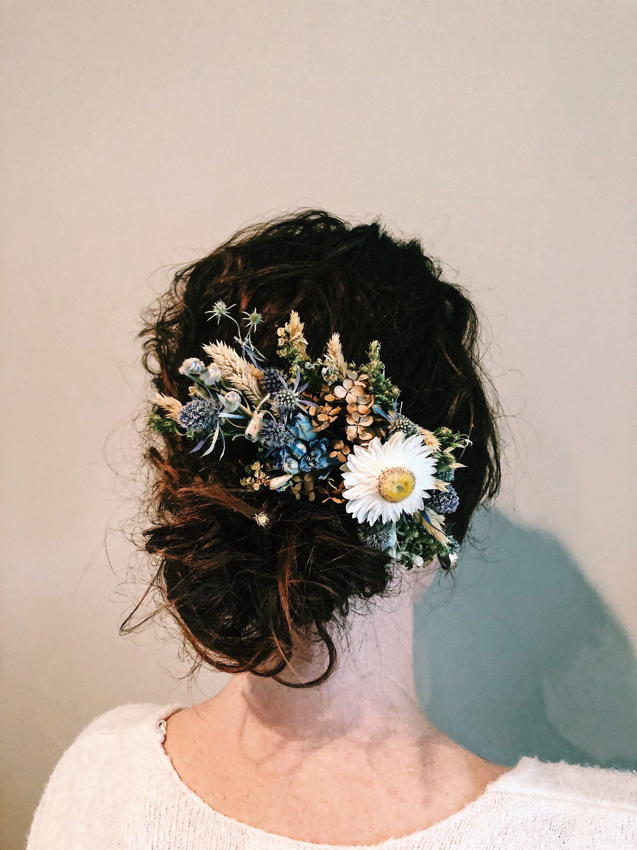 Mini Comb  Dried Flower Mini Comb  Miniature Comb  Wedding Flower Comb  Wedding Mini Comb  Amethyst Comb