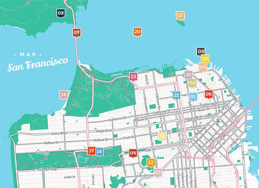 Voyage A San Francisco 21 Choses A Voir San Francisco Map Voyage