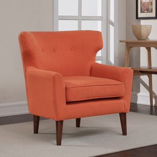 299 Rust Orange Mid Century Wing Chair   Overstock Shopping   Great Deals  On Living Room Chairs