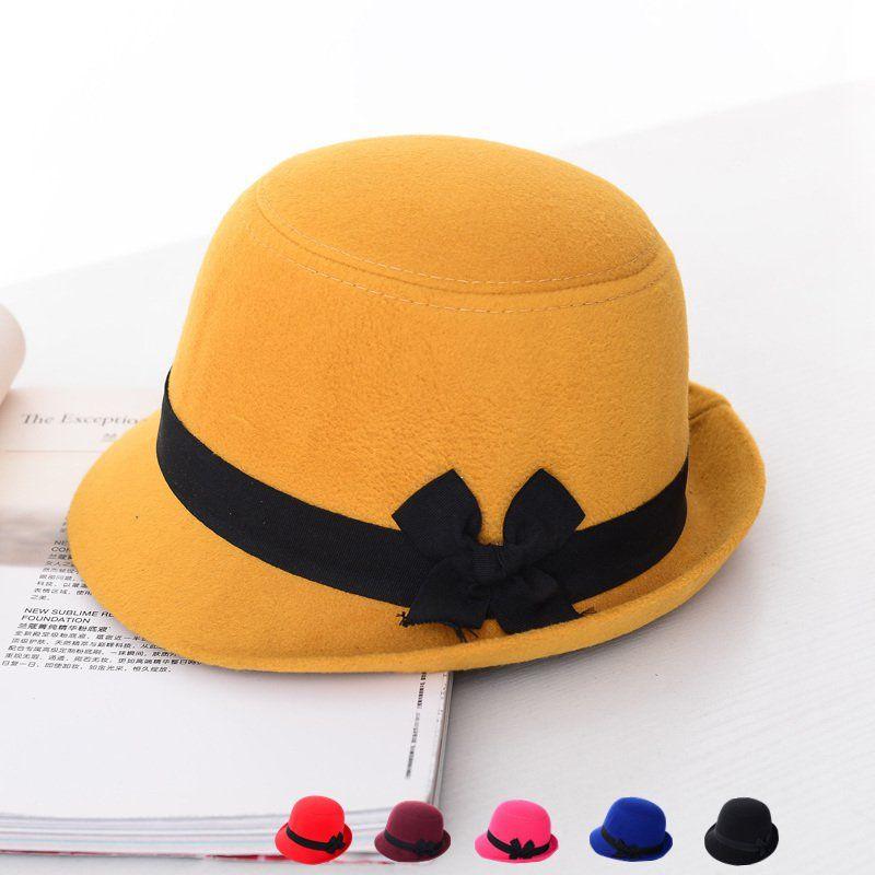 NEW Retro Trendy Cute Women Girl Retro Bowknot Beach Felt Wool Fedora Hats  Bowler Derby Caps 518ce76936e4