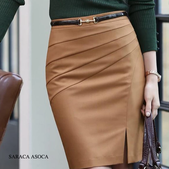 New Style Black Camel Color Solid  Bust Skirt Women's Career Slim Hip Middle Waist Big SizeXXL Pencil Skirts