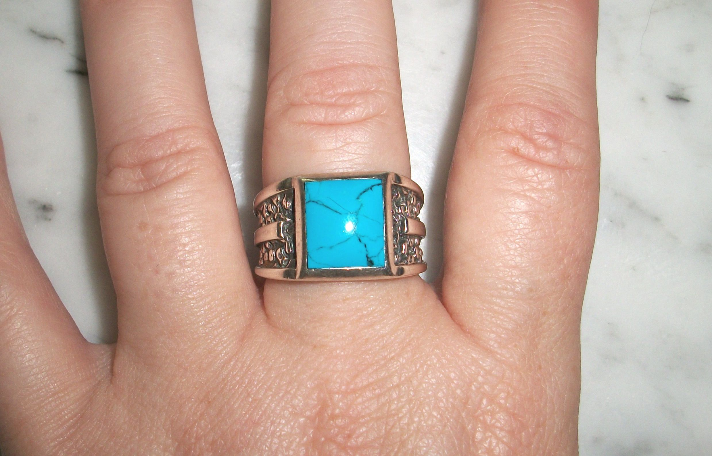 wedding turquoise vintage size signed silver sterling rings c blue pin ring sc southwestern