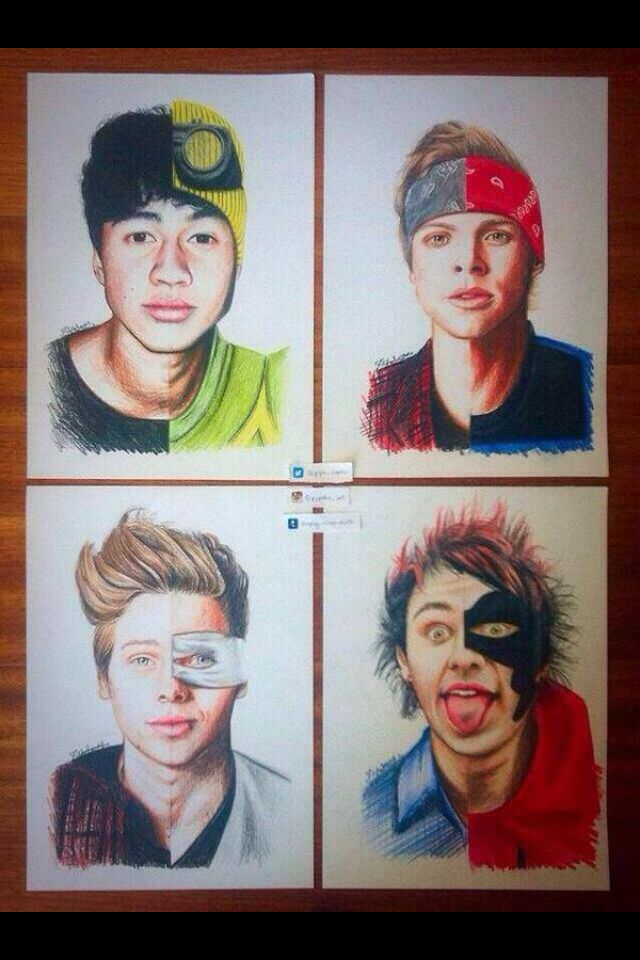 Drawing of 5 seconds of summer :) this is actually so goo omfg. They posted it on Facebook i think. It was my lockscreen for a while :)