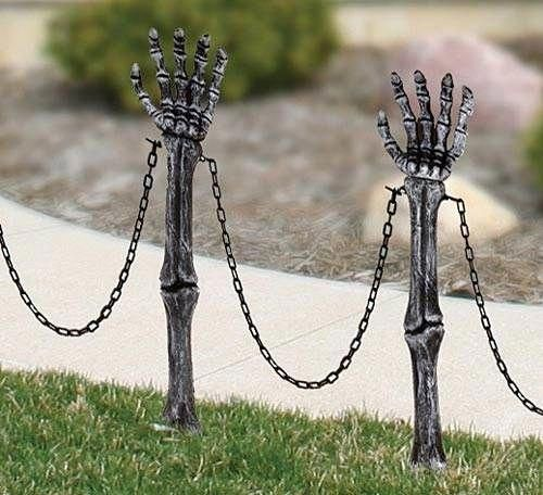 Skeleton Arm Lawn Stakes is part of lawn Party People - Use these 24  plastic Skeleton Arm Lawn Stakes to create an eerie path to your front door this Halloween season! The chains measure 12  long  Package comes with 2 hands per package