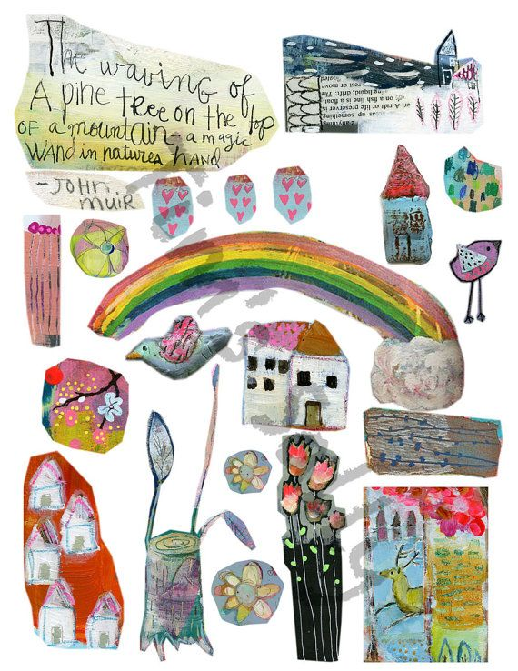 Mixed media journaling collage sheets  by Mindy by timssally, $4.50