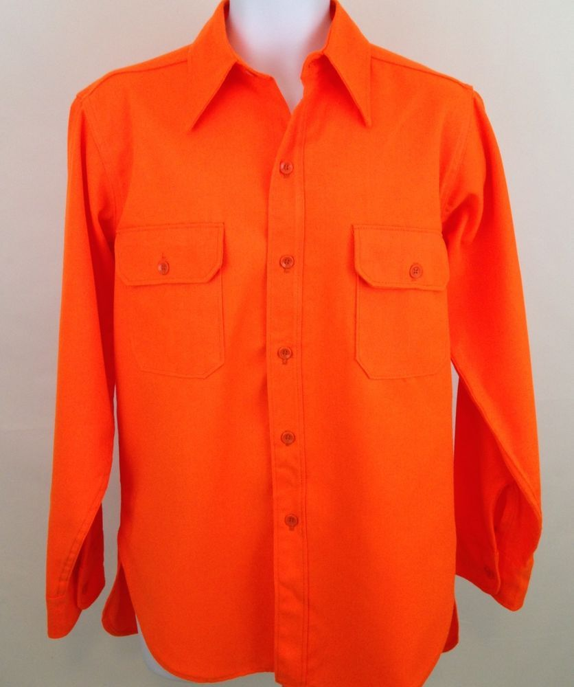 Woolrich Shirt Orange Button Front L/S Hunting Fishing Construction Mens L Vtg #Woolrich #ButtonFront