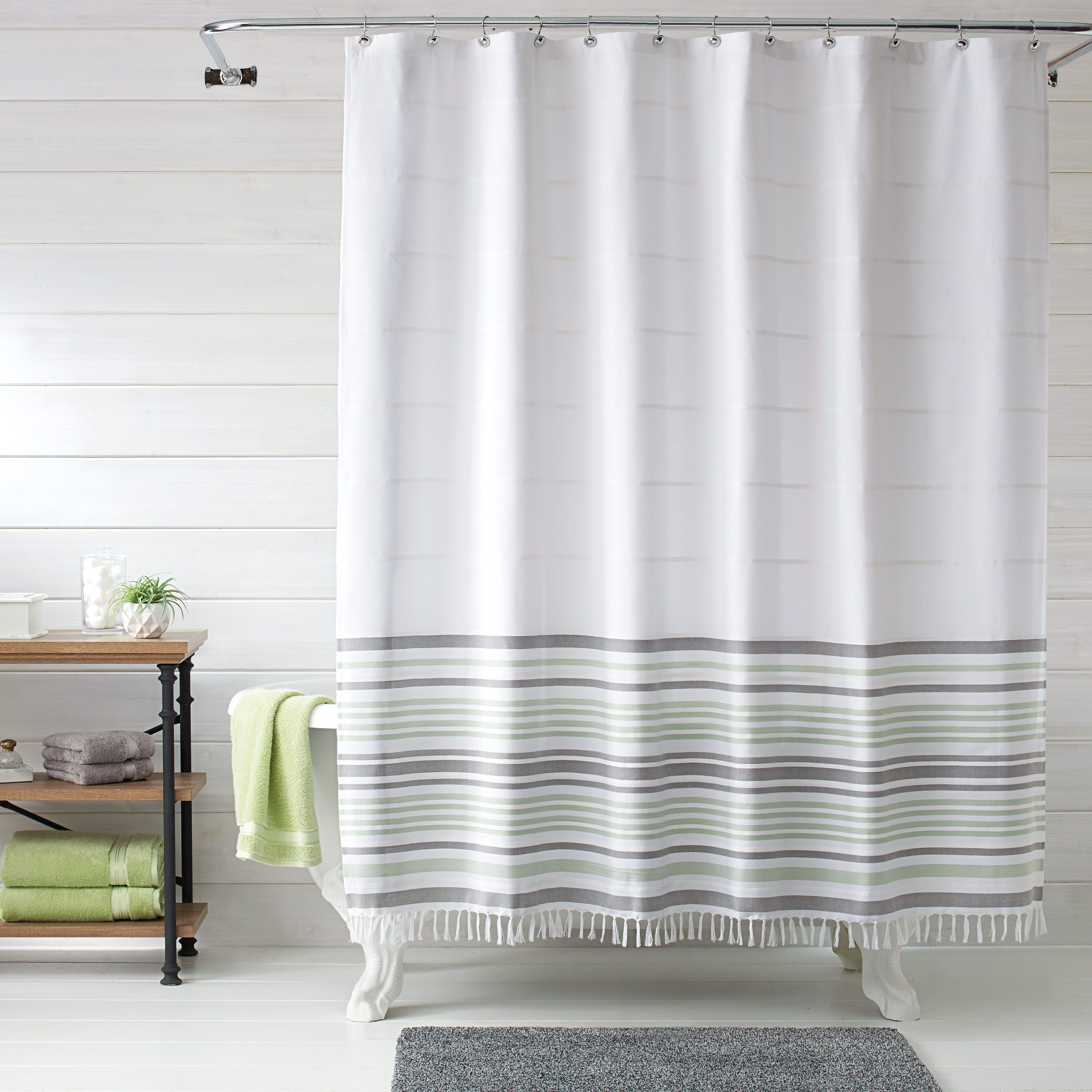 Free 2 Day Shipping On Qualified Orders Over 35 Buy Better Homes Gardens Turkish Stri In 2020 Gray Shower Curtains Striped Shower Curtains Designer Shower Curtains