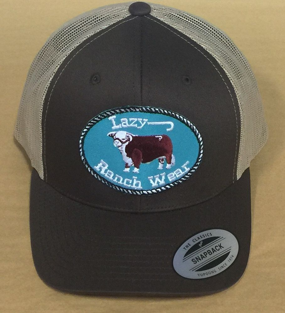 45f0433e7d733 Lazy J Ranch Wear Hereford Logo Hat (Brown Tan) 3.5