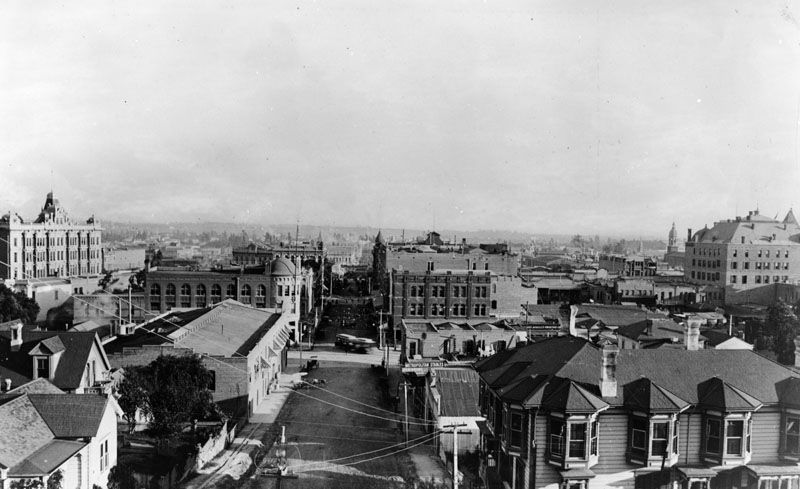 Los Angeles California Circa 1888 Panoramic View Looking East On An Unpaved 1st Street From Near Hill Street Church Steeple Los Angeles Vintage Los Angeles