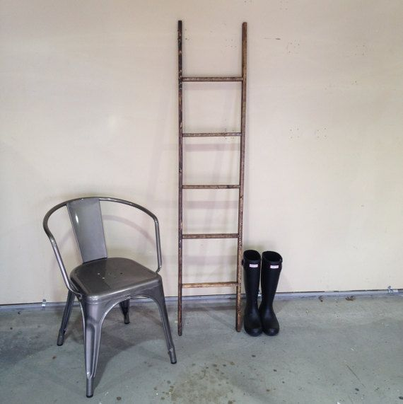 Living Room corner-throw holder perhaps? Dark Walnut Rustic Ladder with Square Rungs by EdnaFayeCreations